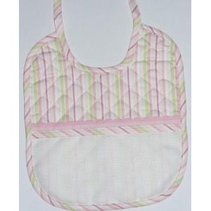 Babero para Bebés -  Lineas Rosa y Verde