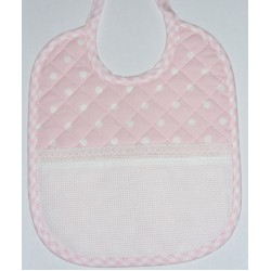 Baby Bib to Cross Stitch - Pink with White Dots