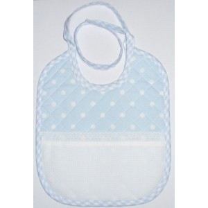 Baby Bib to Cross Stitch - Light Blue with White Dots