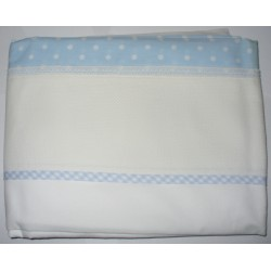 Bed Sheet to Cross Stitch - Light Blue Dots