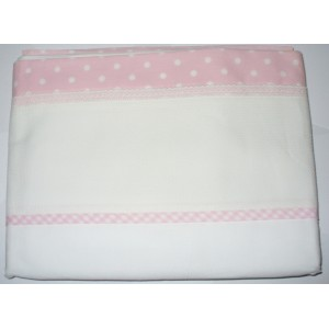 Hoja de Cama de Bebé para Bordar - Rosa con Lunares Blancos
