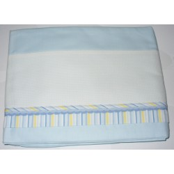 Bed Sheet to Cross Stitch - Light Blue Lines