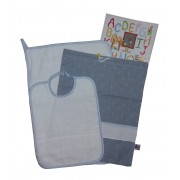 Baby Bib Set to Cross Stitch Jeans Effect - Light Blue
