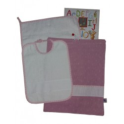 Baby Bib Set to Cross Stitch Jeans Effect - Pink