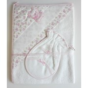 Triangular Baby Bathrobe - Pink - Teddy Bear