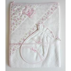 Triangular Baby Bathrobe - Pink - Teddy Bear