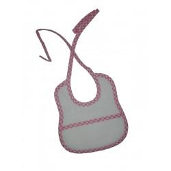 Babero de Rizo para Bebé con Borde a Cuadros de Color Rosa