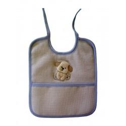 Babero de Rizo para Bebé con Perrito - Celeste