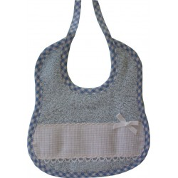 Terry Baby Bib Ready to Stitch with Aquare Border - Light Blue