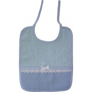 Elegant Lunch Bib Ready to Stitch with Lace Border - Light Blue