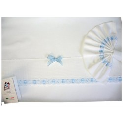 Baby Bed Sheet - Light Blue - Vichy