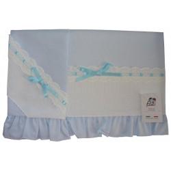 Baby Bed Sheet - Light Blue - Piquet
