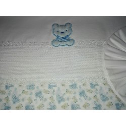 Baby Bed Sheet- Light Blue - Teddy Bear