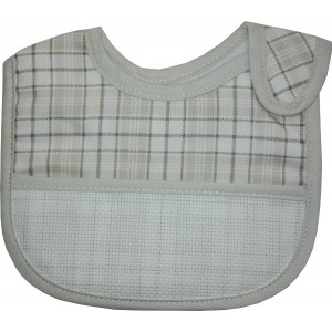 Baby Bib with Strap Closure - Scottish Line - Color Turtledove