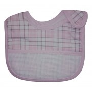 Baby Bib with Strap Closure - Scottish Line - Color Pink