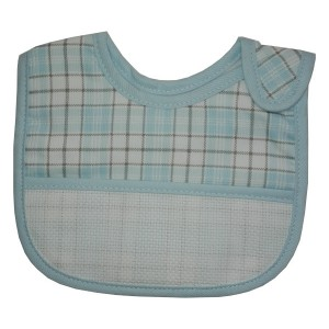 Baby Bib with Strap Closure - Scottish Line - Color Light Blue