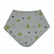 Bandana Baby Bib - Flowers and Bees - Color Light Blue