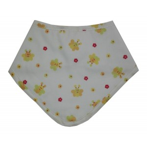 Bandana Baby Bib - Flowers and Bees - Color White