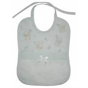 Baby Bib to Cross Stitch - Teddy Bear with Stars and Hearts - Light Blue