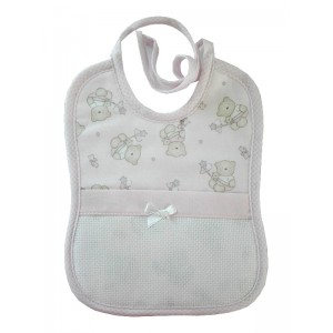 Baby Bib to Cross Stitch - Teddy Bear with Stars and Hearts - Pink