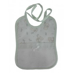 Baby Bib to Cross Stitch - Teddy Bear with Stars and Hearts - Green