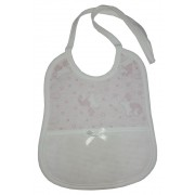 Baby Bib to Cross Stitch - Unicorns - Color Pink