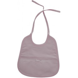 Baby Bib to Cross Stitch - Pink with Little White Dots