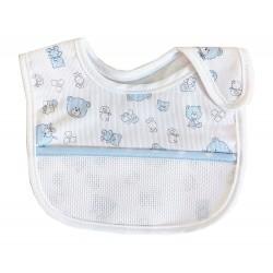 Baby Bib with Strap Closure - Teddy Bear Fancy - Color Light Blue