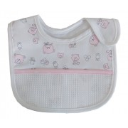 Baby Bib with Strap Closure - Teddy Bear Fancy - Color Pink