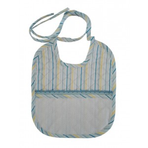 Soft Bib for your Baby - LIght Blue and Yellow  Lines