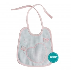 Marbet - Pink Baby Bib with Aida Heart and Butterflies