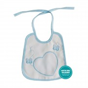 Marbet - Light Blue Baby Bib with Aida Heart and Butterflies