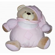 Pink Teddy Bear with Baby Bib to Cross Stitch - Size Medium