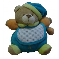 Teddy Bear with baby Bib - Turquoise