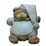 Teddy Bear with Baby Bib - Ready to Stitch - White