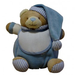 Teddy Bear with Baby Bib - Ready to Stitch - Light Blue