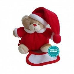 Christmas Teddy Bear with Baby Bib - Small