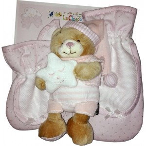 Teddy Bear with Baby Bib - Pacifier Holder and Bottle Holder