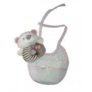 Teddy Bear Ring Rattle with Baby Bib to Cross Stitch  - Pink