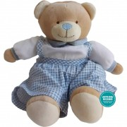 Teddy Bear with Dress to Cross Stitch - Light blue and White