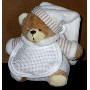 Teddy Bear with Stitichable Bib - Cream