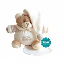Teddy Bear with Stitichable Bib - Cream