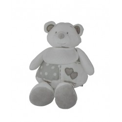 Teddy Bear with Baby Bib to Cross Stitch - White