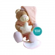 Teddy Bear with Star and Stitichable Bib - Pink