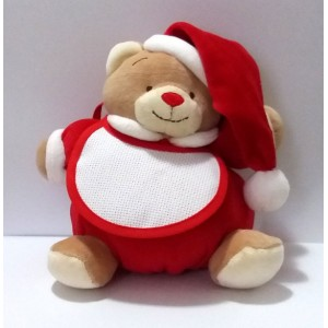 Christmas Teddy Bear with Baby Bib to Cross Stitch