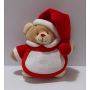Christmas Teddy Bear with Baby Bib - Small
