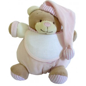 Teddy Bear with Baby Bib - Ready to Stitch - Pink