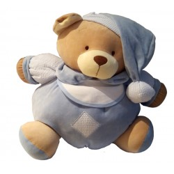 Light Blue Teddy Bear with Baby Bib to Cross Stitch - Size Medium