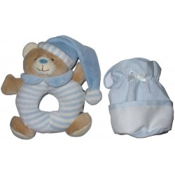 Teddy Bear and Pacifier Holder with Aida Band - Light Blue