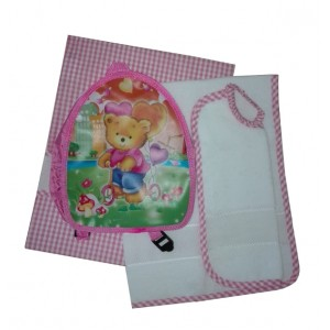 Kindergarten Backpack and Stitchable Linen -  Pink